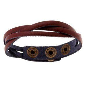 Brown PU Vegan Leather Snap Braided Bracelet